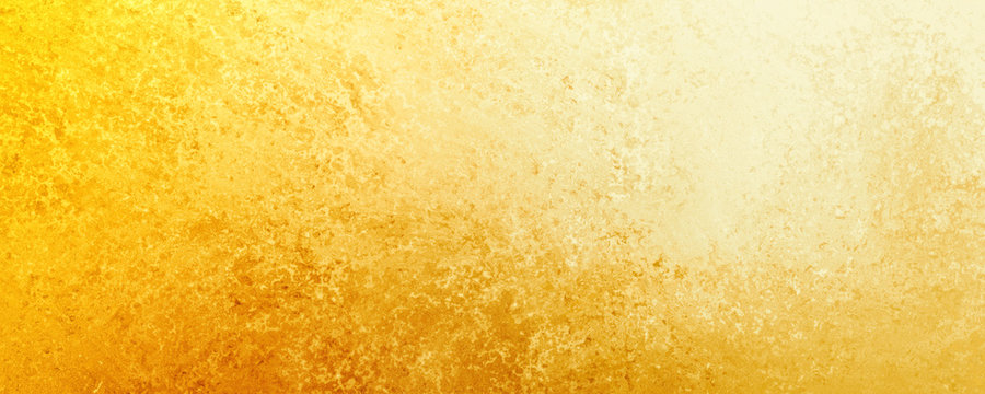 Yellow gold  background texture, old distressed vintage grunge in faded white spotlight design in upper corner and gradient hot bright color abstract textured design from dark to light