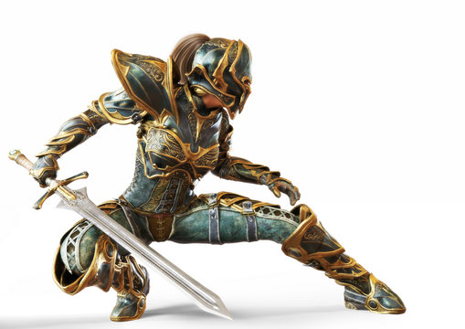 Knight captain female posing with her sword in a fighters combat stance on an isolated white background. 3d rendering