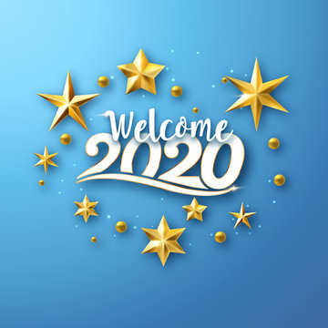 Welcome 2020 - typographic new year greeting design with stars on blue background