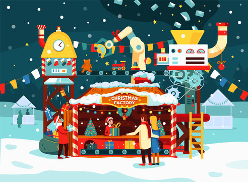 Christmas gift factory with toys, presents on conveyor. Letters to Santa Claus turn into gifts.