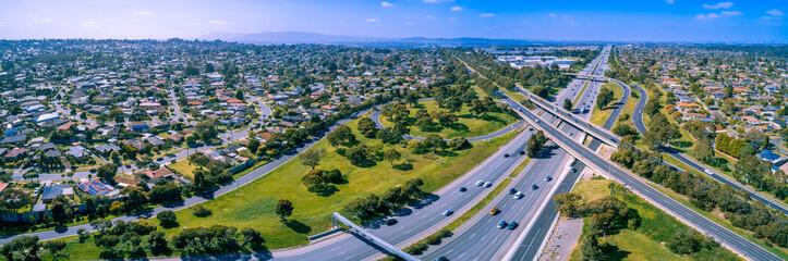 Aerial panorama of highway interchange in Melbourne, Australia