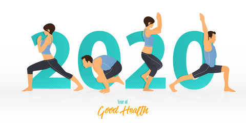 Happy New Year 2020 banner with yoga poses. Year of good health. Banner design template for New Year 2020 decoration in Yoga Concept. Vector illustration.
