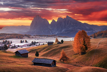 Alpe di Siusi valley in Italian dolomites