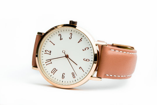 Woman watch with brown band isolated on white background