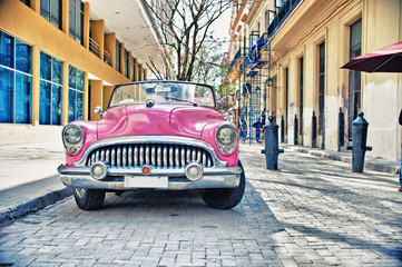 Poster Havana Old Buik pink car parked in a street of havana city