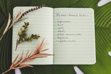 plant-based diet notebook with food category list on tropical leaf with plants