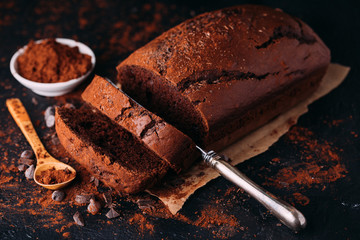 Delicious homemade chocolate almond loaf of bread