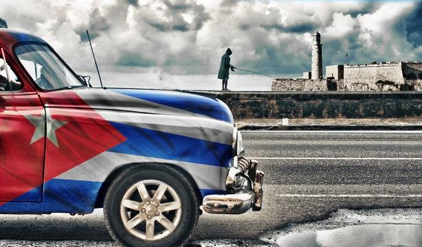 car with cuban flag road in streets of habana, Cuba