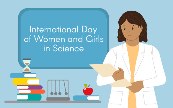 Physicist woman with folder. International Day of Women and Girls in Science. Woman scientist and physicist. Vector illustration in a flat style. Isolated.