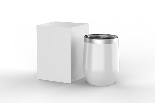 Blank  Insulated Stainless Steel Wine Cup Gift Box For Branding. 3d render illustration.