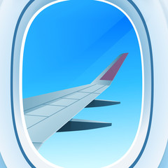 airplane window opened porthole view into open space sky with wing travel tourism air transportation concept flat vector illustration