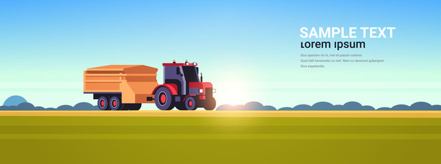 Acrylic Prints Blue tractor with trailer heavy machinery working in field smart farming modern technology organization of harvesting concept sunset landscape background flat horizontal copy space vector illustration