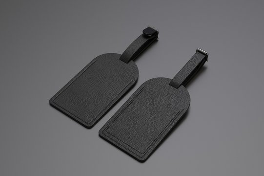 Leather Personal Blank Luggage Tag for Promotional Branding, 3d render illustration.