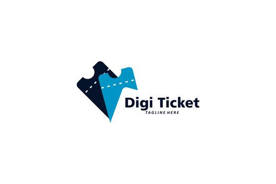 digital ticket logo icon vector isolated