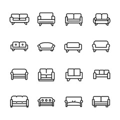 Simple set of sofa icons in trendy line style.