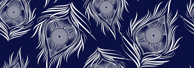 Peacock's tail seamless pattern, african fashion ornament in vibrant colours, picture art and abstract background for Fabric Print, Scarf, Shawl, Carpet, Kerchief, Handkerchief, vector illustration fi