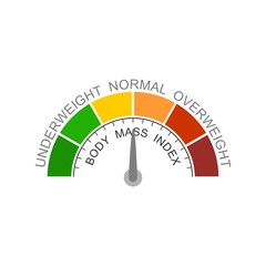 Body mass index meter read normal level result. Color scale with arrow from red to green. The measuring device icon. Vector illustration in flat style. Colorful infographic gauge element