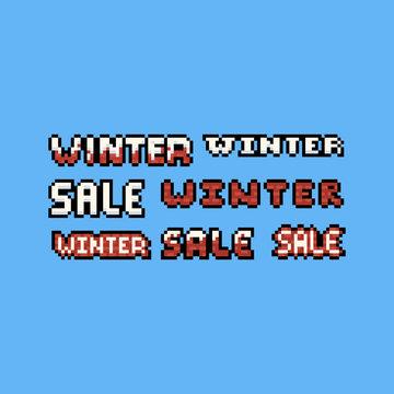 Pixel art 8bit winter sale text design set.