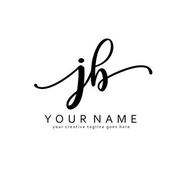 Handwriting J B JB initial logo template vector