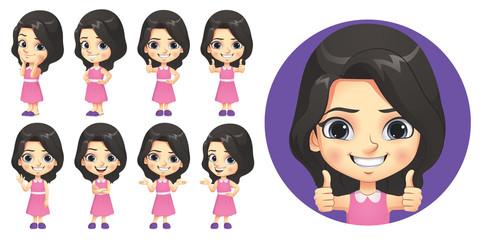 Little Girl Character Set - fototapety na wymiar