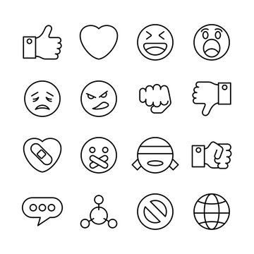 Related social media interaction line icon set