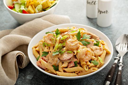 Cajun shrimp and sausage penne pasta in a bowl