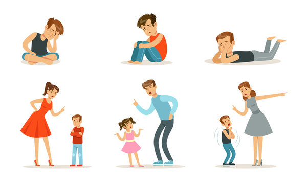 Upset teenagers and parents scold children. Vector illustration.