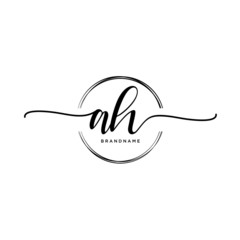 AH Initial handwriting logo with circle template vector.