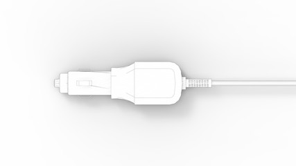 3d rendering of an adapter car plug12 volt lighter isolated