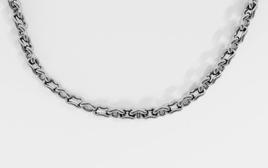 Silver chain isolated on a white background 3d render illustration