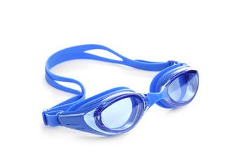 Fototapeta Blue swim goggles isolated on white. Beach object obraz
