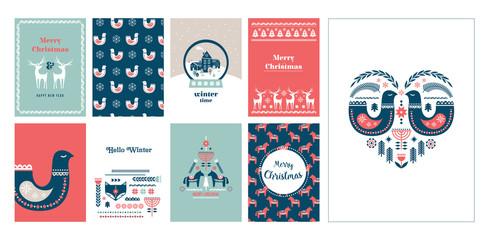 Winter folk art greeting card set in Scandinavian, Nordic style.