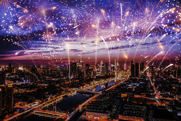 beauty city firework illustration background