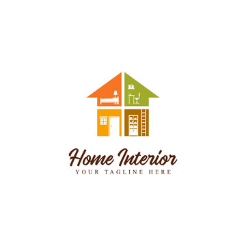 home interior furniture flat style logo design