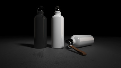Mockup picture of 3d rendering of white and black bottles.