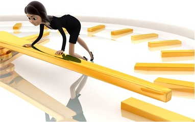 3d woman pushing lever of clock concept