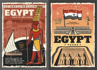 Ancient Egypt temple, Horus eye, ankh and god Amun