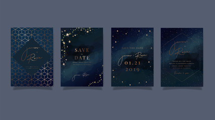Blue Universe Wedding Invitation, universe invite thank you, rsvp modern card Design in little star light in the sky, space Vector elegant rustic template
