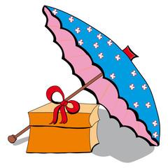 Sonnenschirm und Geschenk