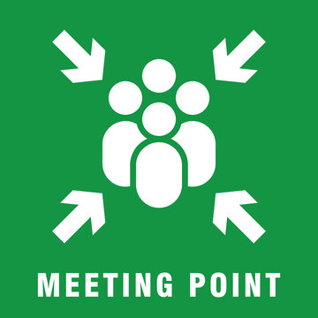 Meeting point or assembly point sign simple flat style vector illustration.