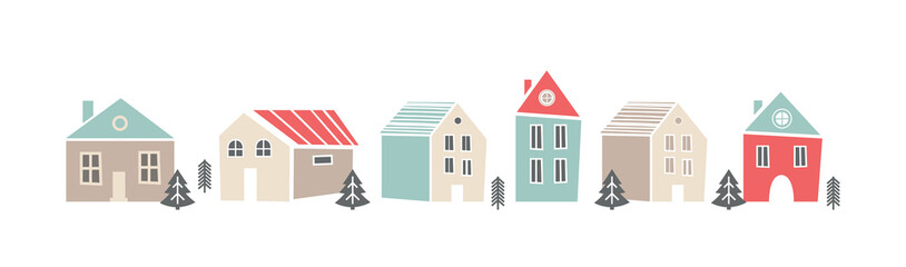 Cute sbanner with houses in Scandinavian, Nordic style. Pretty background for kids collection. illustration. Trendy style