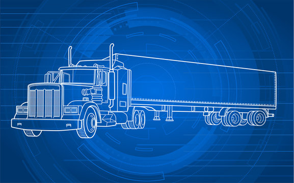 Semi truck illustration