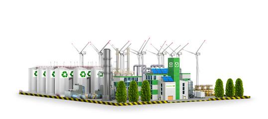 ecological factory. 3D illustration