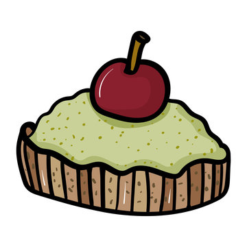 Pistachio cake with cherry. Sweets Cakes Dessert. Pastry shop - Vector. Vector illustration