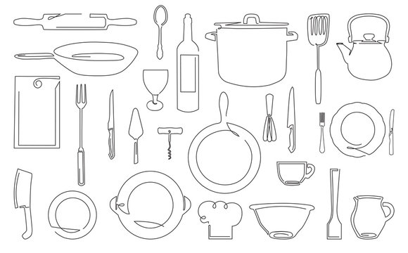 One Line Drawing of Isolated Kitchen Utensils. Cooking Outline Icons Set. Vector illustration.