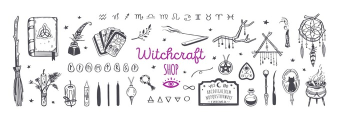 Witchcraft, magic shop for witches and wizards. Wicca and pagan tradition. Vector vintage collection. Hand drawn elements candles, book of shadows, potion, tarot cards etc.