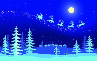 An illustration of Santa Claus flying across a snowy landscape in the Christmas moon night