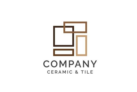 Geometric ceramics and tile floor industry logo design vector graphic