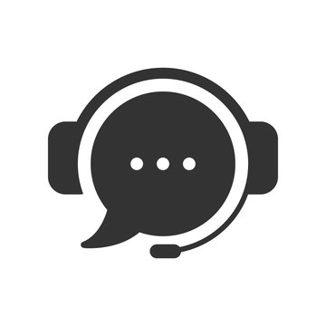 Live chat icon. Online web support system. Consept of live chat, messages of speech bubble with dots and headphones. Flat vector illustration isolated on white background.
