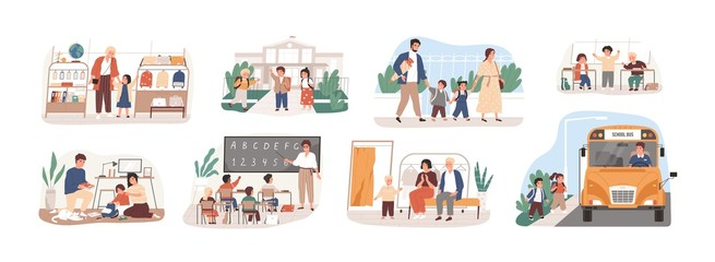 Back to school vector illustrations set. Preparation to Day of knowledge, school supplies buying, first grader gathering. Pupils and teacher, parents and children, bus driver cartoon characters.